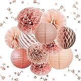 NICROLANDEE Rose Gold Party Decorations -12PCS Elegant Party Supplies Tissue Pom Poms Paper Lantern Glitter...