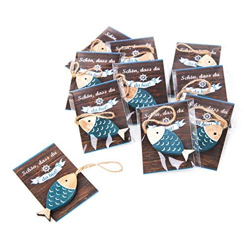 Logbuch-Verlag 25 kleine Fische Holz Give-Away Gastgeschenk mit Schnur zum Aufhängen SCHÖN DASS DU DA BIST Mini-Karte blau türkis weiß maritim Deko Hochzeit Fest Holzfisch