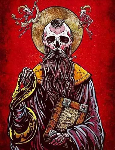 JHGJHK Horror Cráneo Personaje Pintura al óleo Pintura Cráneo Salvaje Familia Sala de Estar Decoración Decoración de la habitación (Imagen 14)