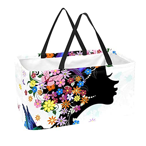 Bolsa de comestibles reutilizable grande, resistente bolsa de compras con parte inferior reforzada y asa (estampado floral de mariposa)