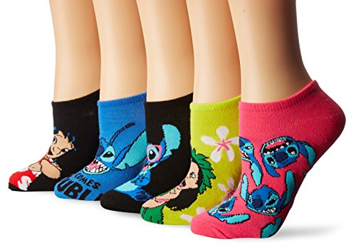 Disney womens Lilo & Stitch 5 Pack No Show Casual Sock, Assorted Bright, Fits Sock Size 9-11 Fits Shoe Size 4-10.5 US