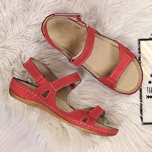 KEERADS- Dernières Sandales orthopédiques en Cuir à Bout Ouvert pour Femmes, de Sport Confortables à Fermeture à Crochet et Boucle de qualité, Chaussures de Coin de Soutien à Arc Plat (40, Rouge)
