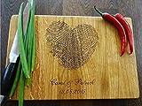 Personalisiertes Schneidebrett Handgefertigt mit Fingerabdruck. Frühstücksbrettchen Brettchen Holz Name Gravur personalisierbar Schneidebrett für Küche Personalisierte Geschenke für Hochzeiten Einzugs