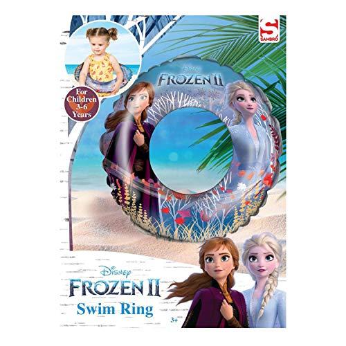 Sambro DFR2-3860 Schwimmring, ca. 46 cm, Disney Frozen II Motiv mit Anna und ELSA, für Kinder von 3 bis 6 Jahren, mit Sicherheitsventil, ideal für Pool, Strand und Schwimmbad