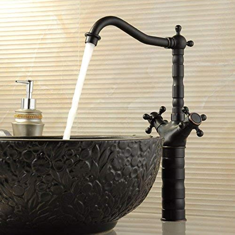 Willsego Wasserhahn Alle Kupfer und Bronze Retro heie und kalte Wasserhhne Becken Wasserhahn Becken Wasserhahn Stage Rotation (Farbe   Heigugaokuan, Gre   -)