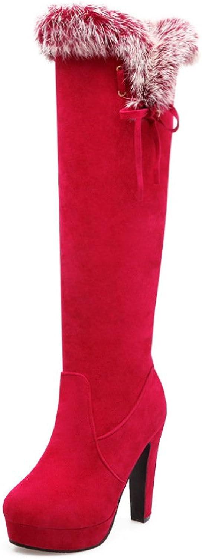 DYF Frauen Stiefelette rauhe Ferse Hohe barrel Gurt Farbe Warm Cashmere, Rot, 43