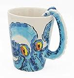 3D Coffee Mug, Handmade Hand Painted Creative Art Mug Ceramic Milk Cups Travel Mug Ocean Octopus Squid Style with Octopus Tentacles Beard Handle Christmas gift