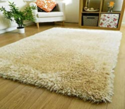 Zeff Furnishing Polyester Anti Slip Shaggy Fluffy Fur Rugs and Carpet for Living Room, Bedroom (Ivory, 5x5 feet)