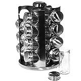 SIDCO Gewürzregal Edelstahl Gewürzständer Gewürzkarussell mit 16 Gläser drehbar - 2