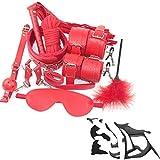 10 pezzi set manette in pelle flirt giocattoli alternativi (rosso)