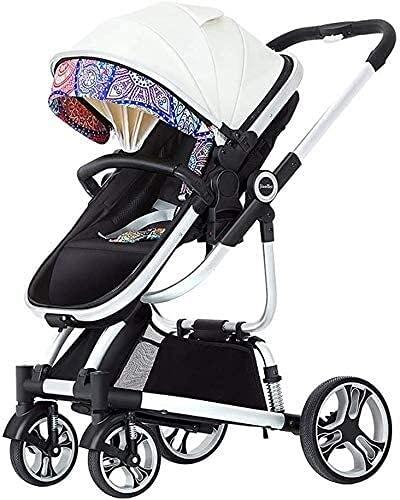 Ankon Sistema de viaje de cochecito ligero Vista de alta vista al carruaje de bebé, cochecito de bebé de dos vías absorbente ligero, cochecito de cochecito plegable/cochecito de cochecito con canast