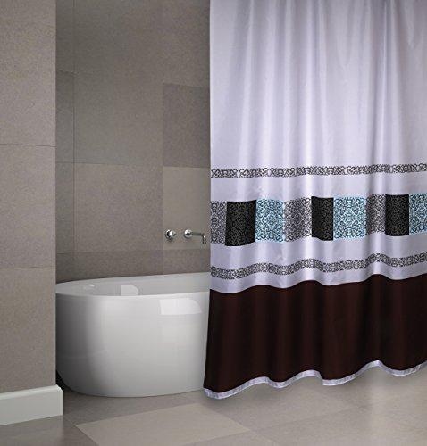 """MSV Cotexsa by Premium Anti-Schimmel Textil Duschvorhang - Anti-Bakteriell, waschbar, 100prozent wasserdicht, mit 12 Duschvorhangringen - Polyester, """"Delhi"""" Weiß Schwarz 180x200cm – Made in Spain"""