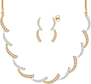 Viyari Lisa Cubic Zirconia 18 Inch Goldtone Necklace Earrings Jewelry Set