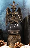 Ebros Sabbatic Goat of Mendes Lucifer Samael Lilith Baphomet Sitting On Black Sandstorm Gazing Ball with Pentagram Sigils Decorative Statue 12' Tall LaVeyan Satanic Devil Cult Worship Scrying Balls