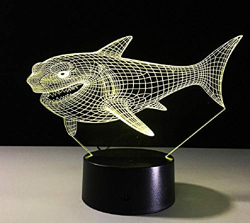 3D ilusión lámpara control remoto noche luz caricatura tiburón mal sonrisa 3D noche lámpara táctil visión 3D regalo creativo LED noche luz