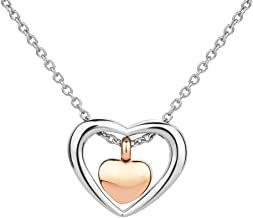 CoolJewelry Urn Necklace for Ashes Double Heart Pendant Cremation Memorial Locket Keepsake Jewelry with Fill Kit
