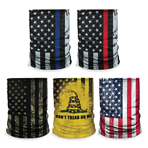 Controller Gear [5 Pack] Neck Gaiter - Face Mask - Made in USA. Thin Blue Line/Don't Tread On Me/Camo/US Flag - Not Machine Specific