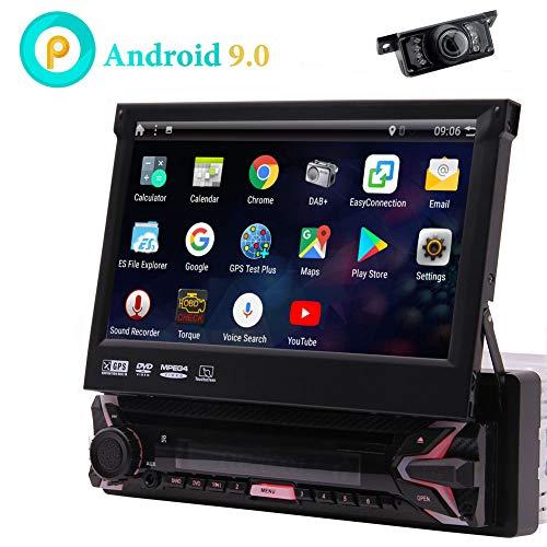 7inch Android 9.0 kapazitives Touchscreen Autoradio GPS Navigation Quad Core 1 GB 16 GB Single 1 Din DVD CD Radio Bluetooth 4.0 Wifi 4G Spiegel Link-Lenkrad-Steuerung mit drahtloser Rückfahrkamera