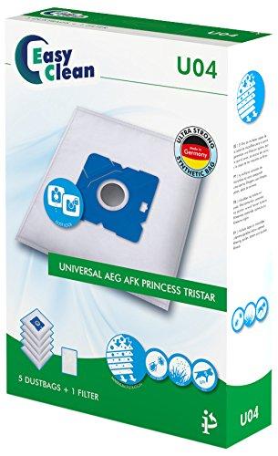 EasyClean EC-0U04 - Pack de 5 bolsas de polvo de microfibra y 1 filtro para aspiradoras universal, AEG, AFK, princess, tristar