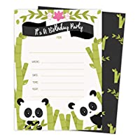 Panda Happy Birthday Invitations Invite Cards (25 Count) With Envelopes & Seal Stickers Boys Girls Kids Party