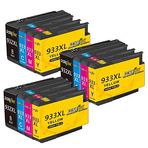 DOREINK 932XL 933XL - Cartuchos de tinta de repuesto para HP 932 XL 933 XL, alta compatible con impresoras HP Officejet 7510 6700 6600 6100 7110 7612 7610 (3 negro, 3 cian, 3 magenta, 3 amarillo)
