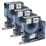 UniPlus Compatible de Cinta de Etiquetas Reemplazo para Dymo 18488 Etiquetas de Nailon Flexible de 0.47 para Rhino 6000 5200 5000 4200 3000 1000 ILP 219 3M PL100, 12 mm x 3.5 m, Negro sobre Blanco