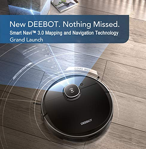 ECOVACS DEEBOT OZMO 950 2-in-1 Robotic Vacuum Cleaner with Smart Navi 3.0 Mapping & Navigation Technology and OZMO Mopping App and Voice Control,Multi-Floor Mapping for Carpets & Hard Floors