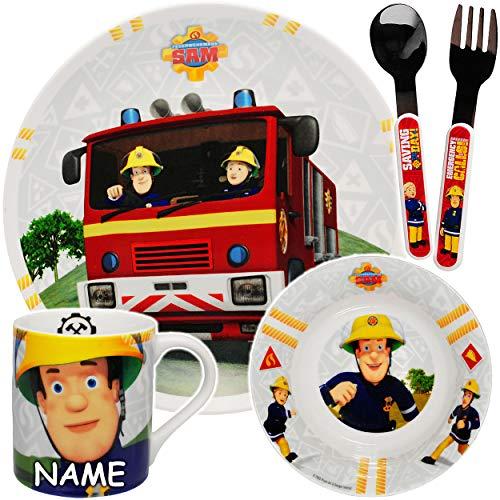 alles-meine.de GmbH 5 TLG. Geschirrset - Feuerwehrmann Sam - inkl. Name - Geschirr aus Porzellan / Keramik + Edelstahl Besteck - Gabel Löffel - Trinkbecher + Teller + Müslischale..