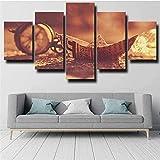 Pintura de paisaje moderno 5 piezas Lienzo Barco Origami Barco de papel Sepia Múltiples paneles Arte de la pared Impresiones en alta definición Imágenes Obra de arte60X32 pulgadas)