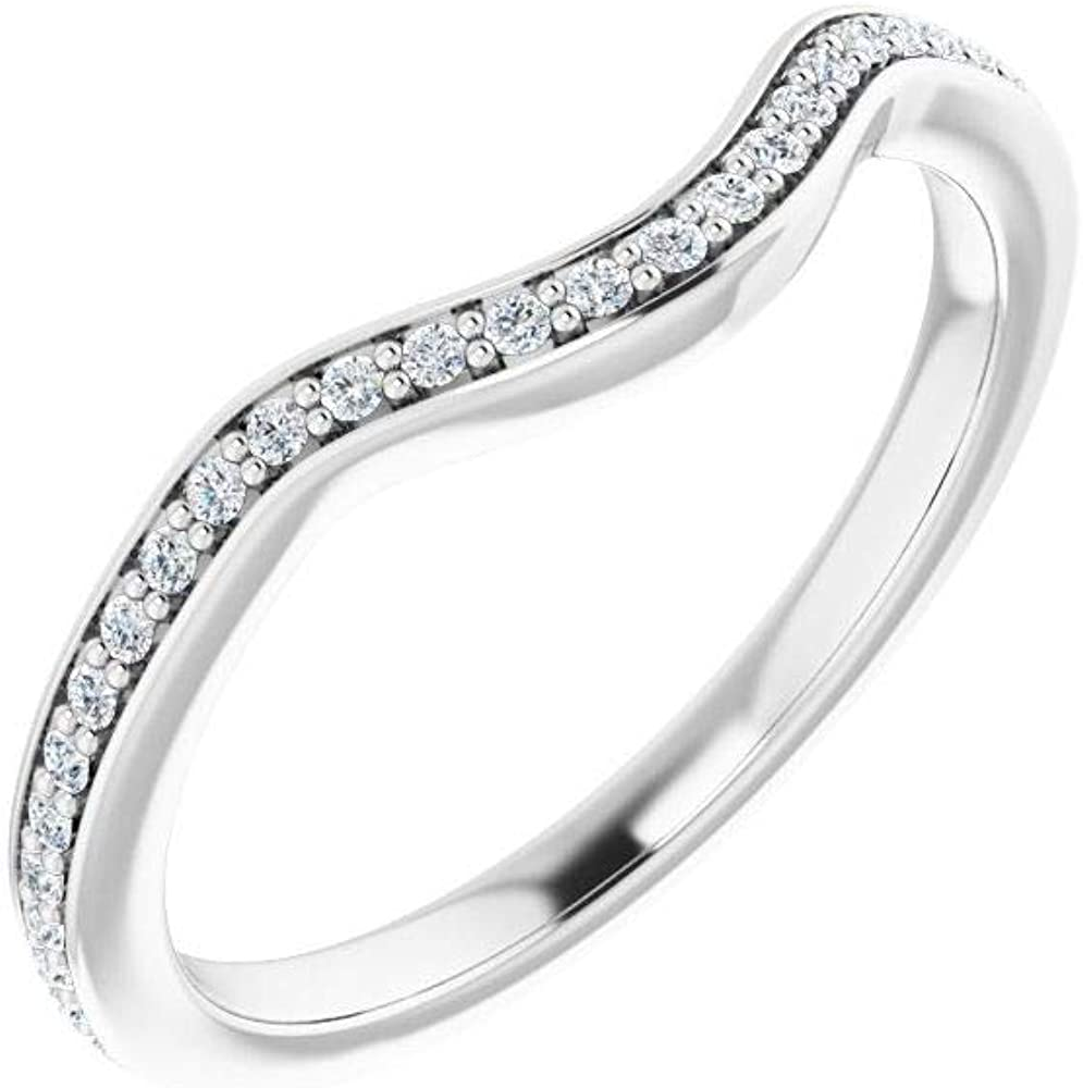 Solid 14k White Gold 1/6 Cttw Diamond Curved Notched Wedding Band for 7mm Cushion Ring Guard Enhancer - Size 7