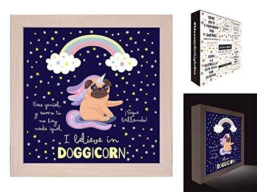 Cuadro, caja de luz con mensaje I Believe in Doggicorn AH-185