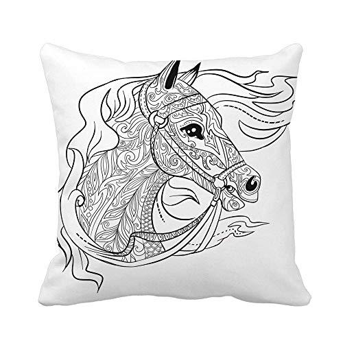 Funda Cojin Cojines Fundas Antiestrés Doodle Cabeza de Caballo para Libro de Colorear para Adultos Animal Home Cuadrado Decorativo 45X45CM