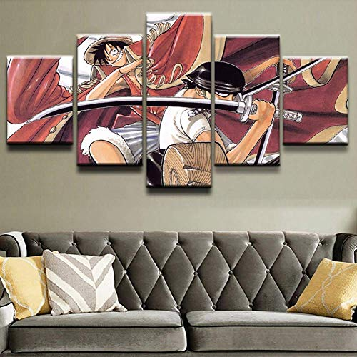 HD Prints on Canvas Picture Paintings 5 Panel Anime Monkey D. Luffy Poster Print Canvas Painting Wall Decor for Home Decor,J,30x502+30x702+30x801
