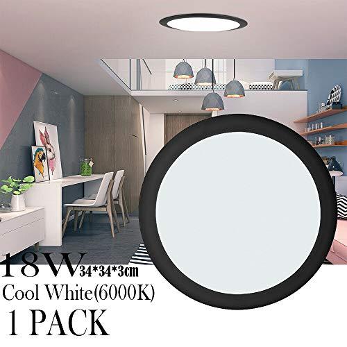 LED Deckenleuchte, 18W Rund Tageslichtweiß Deckenleuchte, Nachtlicht-Funktion 120 Abstrahlwinkel, LED Deckenlampe für Wohnzimmer, Schlafzimmer, Flur, Badezimmer