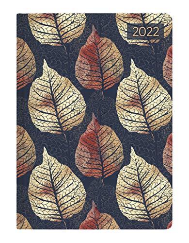 Alpha Edition - Agenda Giornaliera Style 2022, 10,7x15,2 cm, Foglie, 352 pagine
