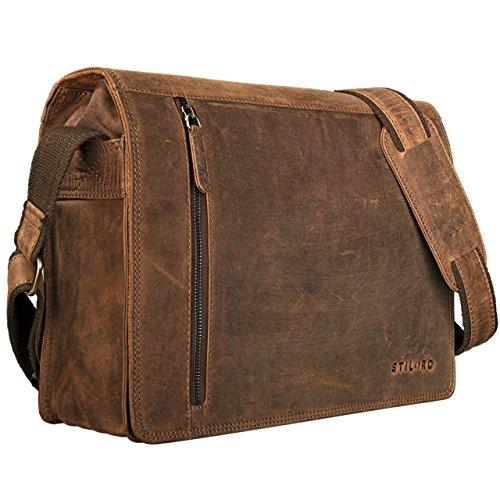 STILORD 'Noah' Bolso Mensajero Cuero Hombre y Mujer Bolsa Bandolera para portátil 13,3 Pulgadas Bolso Trabajo Bolso Estudiante de auténtica Piel Vintage, Color:marrón - Medio