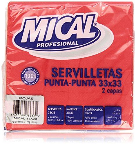 Mical Profesional, 33/2capas–Color Rojo–2Paquetes De 50unidades [100piezas]