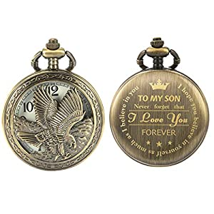 SIBOSUN Personalized Pocket Watch Engraved Back Case Birthday Graduation Men Women to My Son Daughter Eagle Scout Quartz