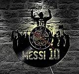 ZhaoCJB-l'horloge Vinyle Horloge Murale Argentine Joueur De Football Horloge Force Imparable du Football Légende Cadeau pour Les Fans De Messi