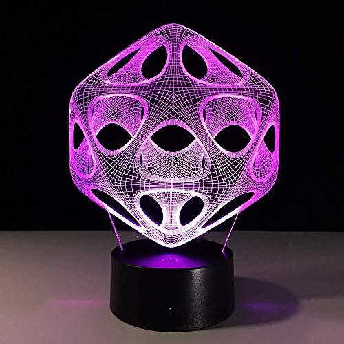 3D nachtlampje 7 kleuren creatieve abstracte LED sfeerverlichting USB LED lichtschakelaar afstandsbediening kleurverandering slaapkamer