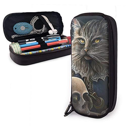 Federmäppchen mit großer Kapazität für langlebige Studenten Schreibwaren mit Reißverschluss Bürobedarf Tasche für Jungen Mädchen Katzen Schädel Historische Figuren