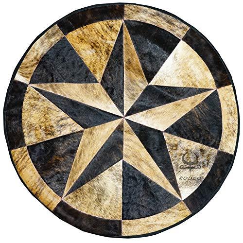 rodeo Texas Star Patch Work Cowhide Rug with linging Diameter 40 in (Dark Brown)