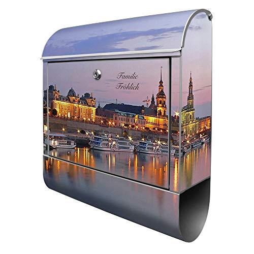 Banjado Design Briefkasten personalisiert mit Motiv Dresden | Stahl pulverbeschichtet mit Zeitungsrolle | Größe 39x47x14cm, 2 Schlüssel, A4 Einwurf, inkl. Montagematerial