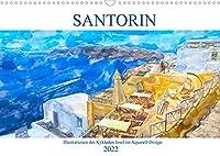 Santorin - Illustrationen der Kykladen Insel im Aquarell-Design (Wandkalender 2022 DIN A3 quer): Trauminsel der Aegaeis (Monatskalender, 14 Seiten )