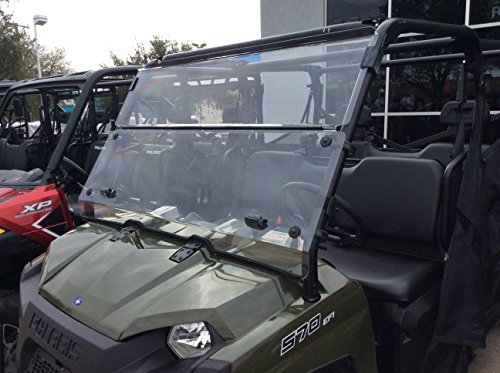 A&S AUDIO AND SHIELD DESIGNS 2016-2021 POLARIS RANGER 570 FULL SIZE CREW 3/16 POLYCARBONATE FOLD DOWN WINDSHIELD