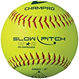 CHAMPRO ASA 12' Slow Pitch Softballs - Leather Cover .52 COR, 12 Pack