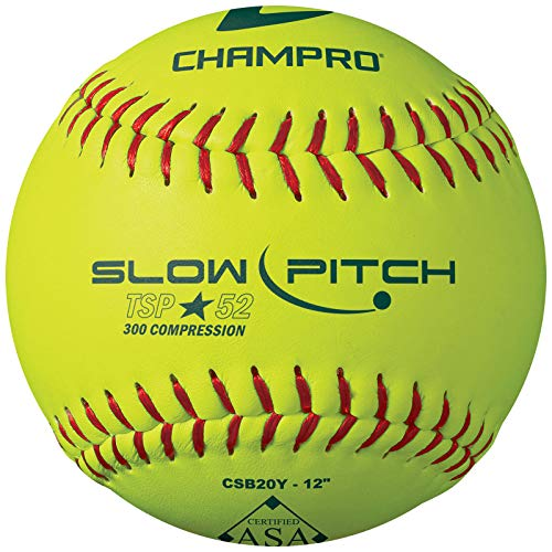 """CHAMPRO ASA 12"""""""" Slow Pitch Softball - Leather Cover .52 COR, Optic Yellow (CSB20Y)"""