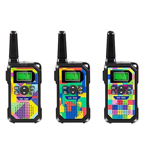 Walkie Talkie para Niños,3 Pack,8 Canales,Radios de 2 Vías,3km de Largo Alcance Walkie Talkie Toys con Linterna y Pantalla LCD Retroiluminada para Niños y Niñas Actividad al Aire Libre en Interiores