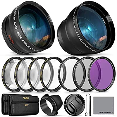 55MM Vivitar Essential Lens & Filter Accessory Kit for Nikon AF-P DX 18-55mm and Select Sony Lenses - Bundle with Wide Angle & Telephoto Lenses, Filters Kit. from VIVXT