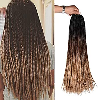 24inch Long Box Braids Crochet Synthetic Braiding Hair Extensions Ombre Brown Hand made Synthetic Crochet Braided Hair For Black White Women Girls 6Packs Sale 3S box braids Black-DarkBrown-LightBrown